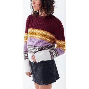 NWT UO Fair Isle Crewneck Sweater - Plum/Mustard